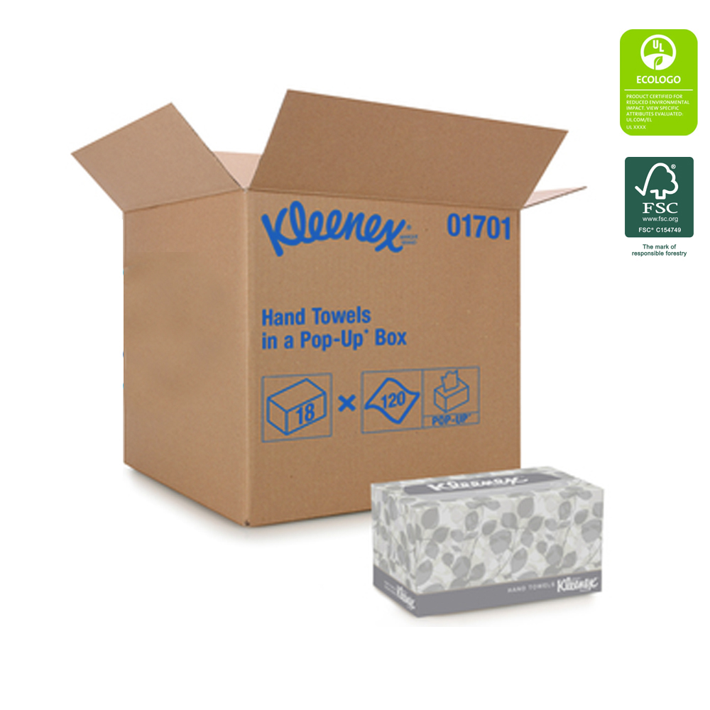 "Kimberly Clark - Kleenex White 9""x10.5"" 1 ply 120 Sheet Pop-up Paper Hand Towel 01701"