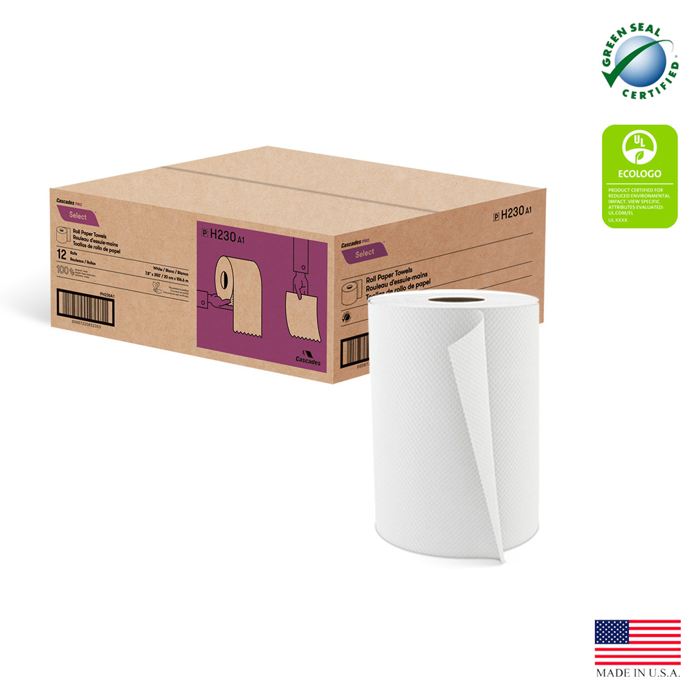 "Cascades Tissue White 8""x350' Decor Roll Towel    5-101765"