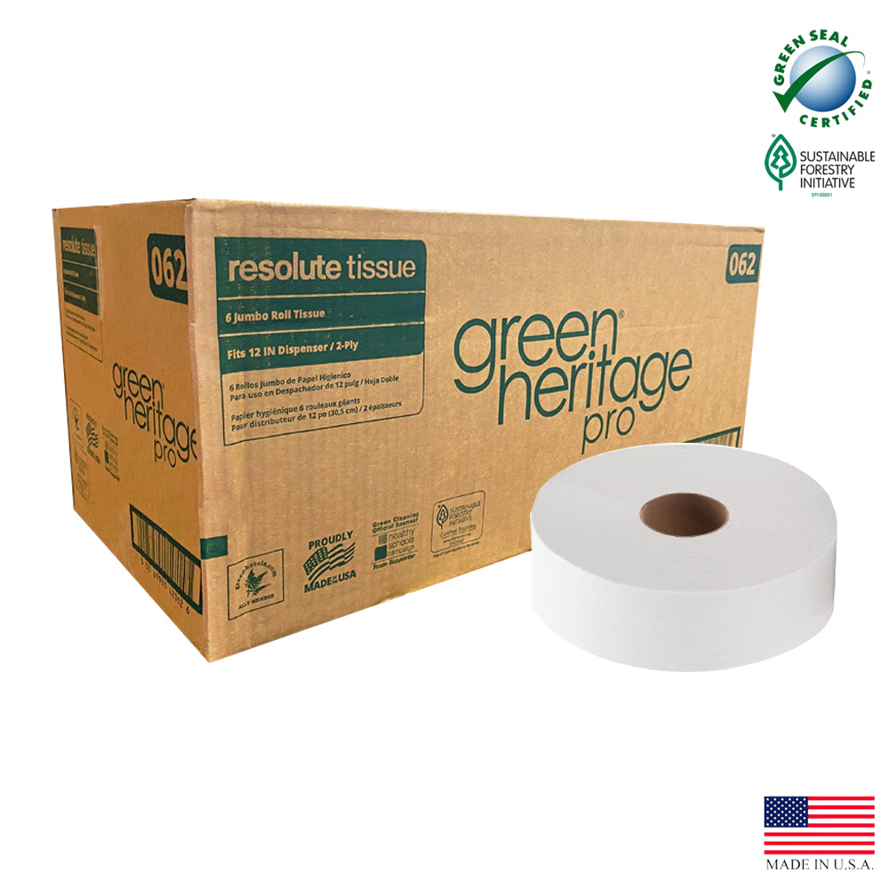 "Atlas Paper White 12"" 2ply Green Heritage Jumbo   Roll Paper Bathroom Tissue 062"