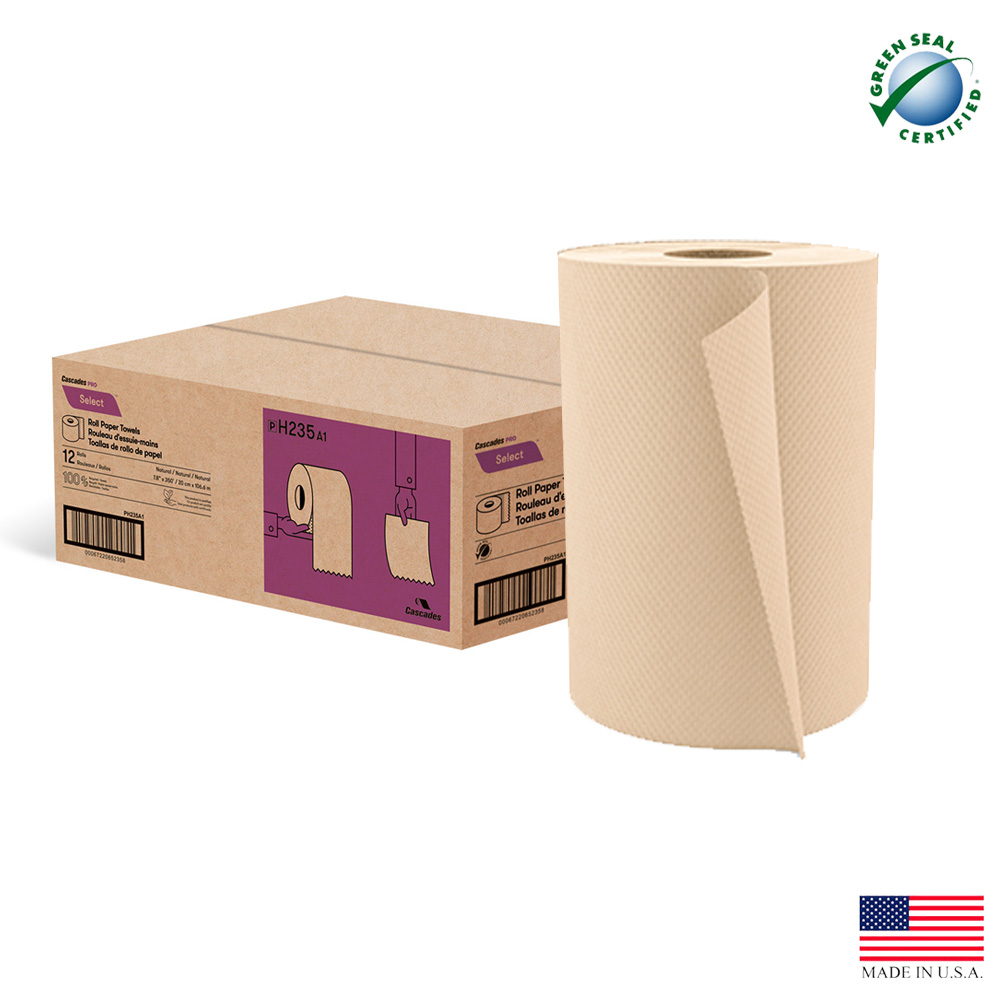 "Cascades Tissue Natural 8""x350' Roll Towel H235"