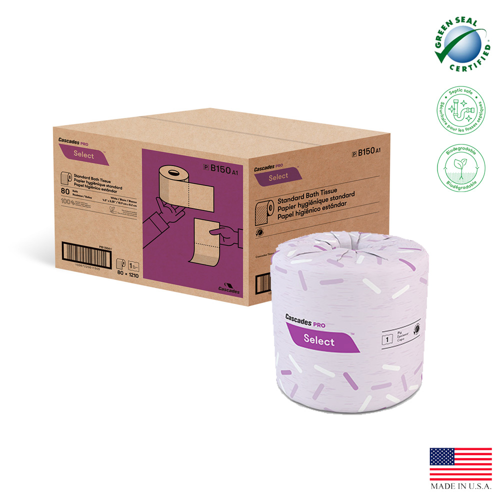 "Cascades Tissue - Pro Select White 4.25""x3.25"" 1  ply 1210 Sheet Standard Bathroom Tissue B150"