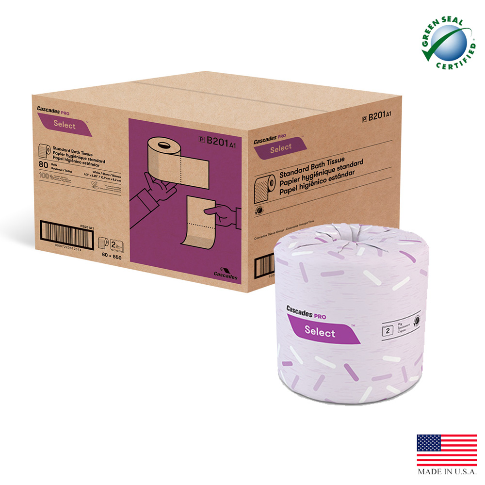 "Cascades Tissue - Pro Select White 4.25""x3.25""    2 ply 550 Sheet Select Bathroom Tissue B201"