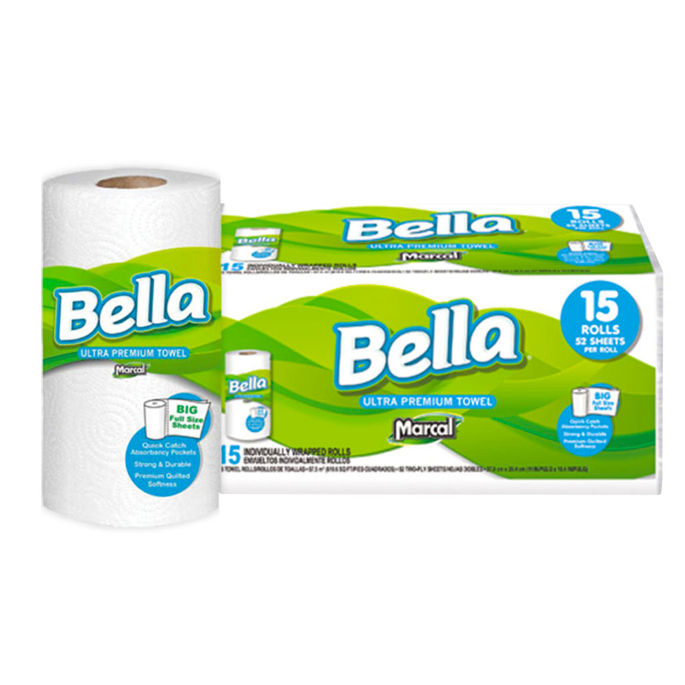 "Soundview Paper Co. - Bella White 11""x10.4"" 2 ply 52 Sheet Ultra Premium Wrapped Kitchen Roll T"
