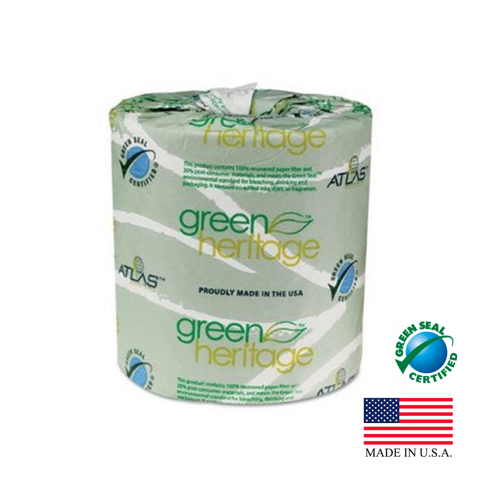 "Atlas Paper White 4.5""x3.5"" 2ply 500 Sheets Green Heritage Paper Bathroom Tissue 235"