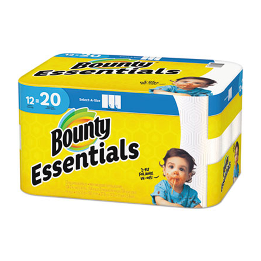 "Procter & Gamble - Bounty Essentials White 11""x5.9"" 2 ply Regular 104 Sheets 12 Rolls Select-A-"