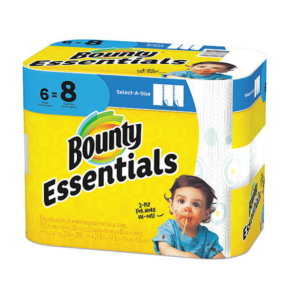 "Procter & Gamble - Bounty Essentials White        11""x5.9"" 2 ply Regular 83 Sheets 6 Rolls Sele"