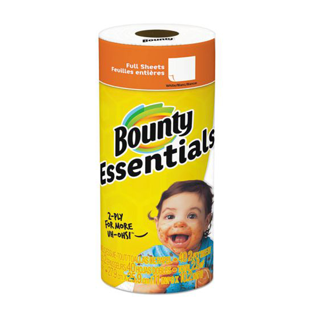 "Procter & Gamble - Bounty Essentials White 11""x10.2"" 2 ply 40 Sheets Full Sheet Paper Kitchen R"