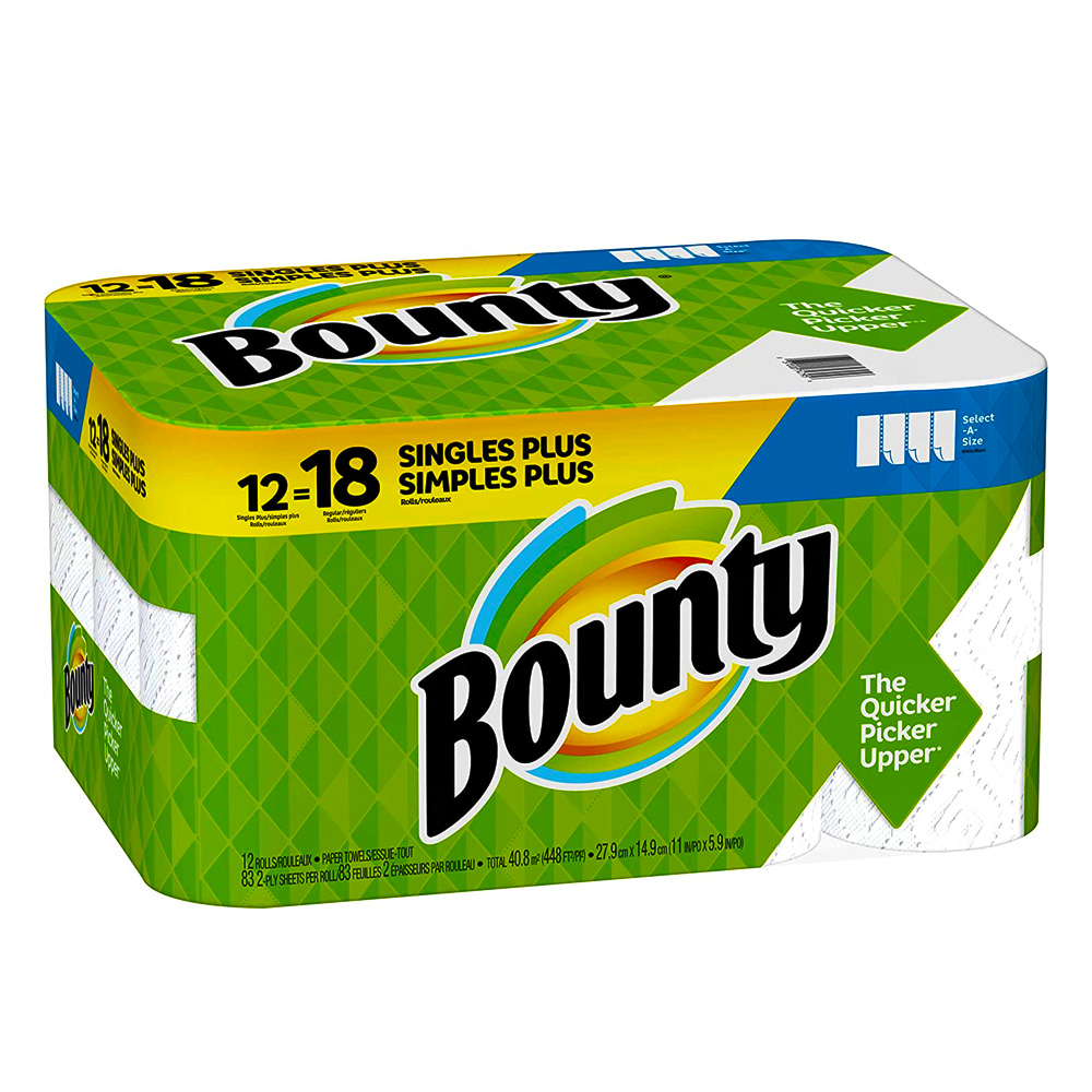 "Procter & Gamble - Bounty White 11""x5.9"" 2 ply 83 Sheets 12 Rolls Select-A-Sheet 74795"