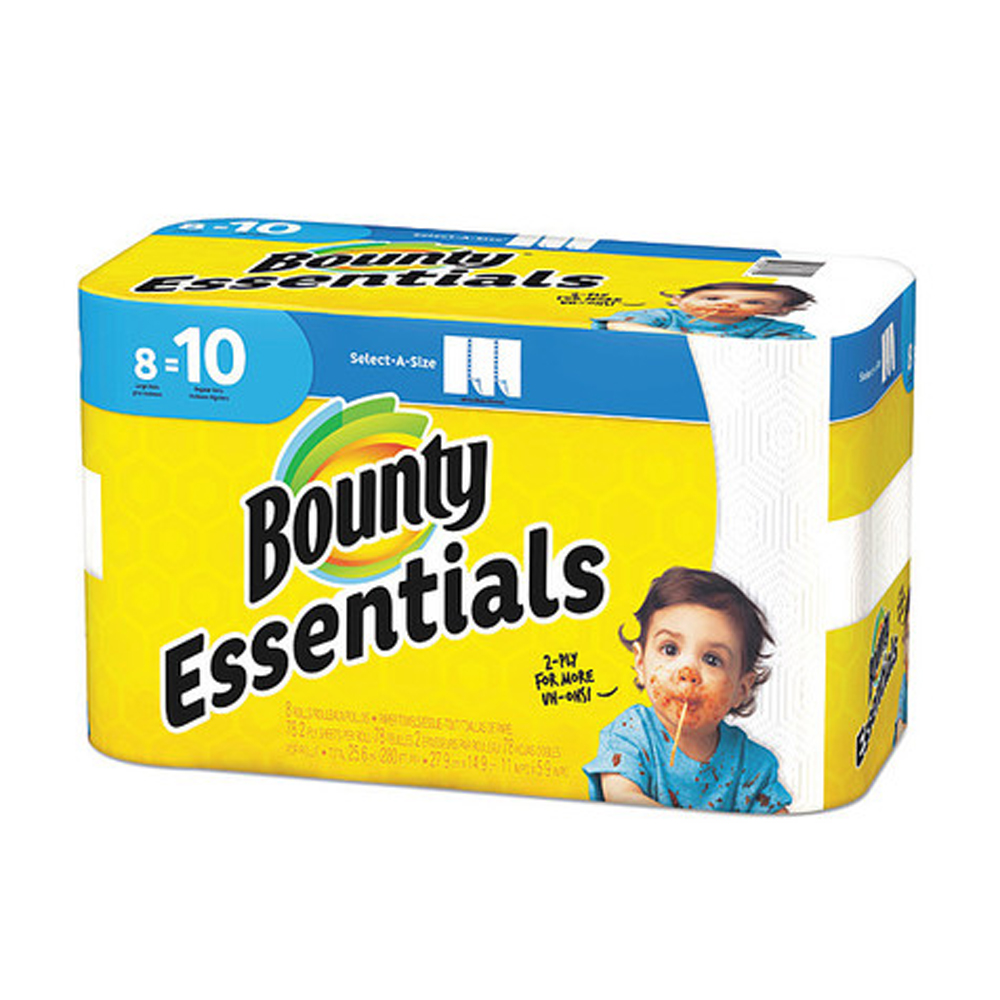 "Procter & Gamble - Bounty Essentials White        11""x5.9"" 2 ply Regular 78 Sheets 8 Rolls Sele"