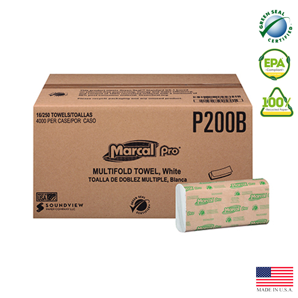 "Putney Paper - Marcal White 9.25""x9.5"" 1 ply 250 Sheet Multi-Fold Paper Towel P-200-B"