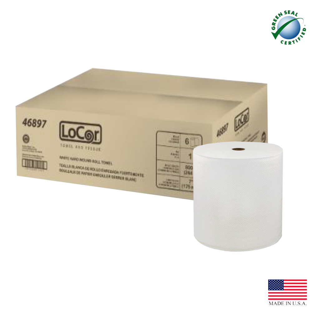 "Solaris Paper White 7""x800' Locor Embossed Hard Wound Roll Towel 46897"