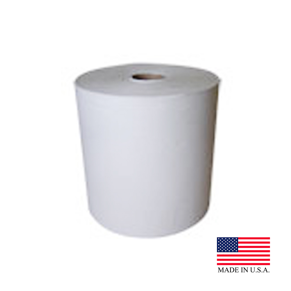 "Nittany Paper White 8""x800' 2"" Core Embossed Roll Towel NP-6800EW"