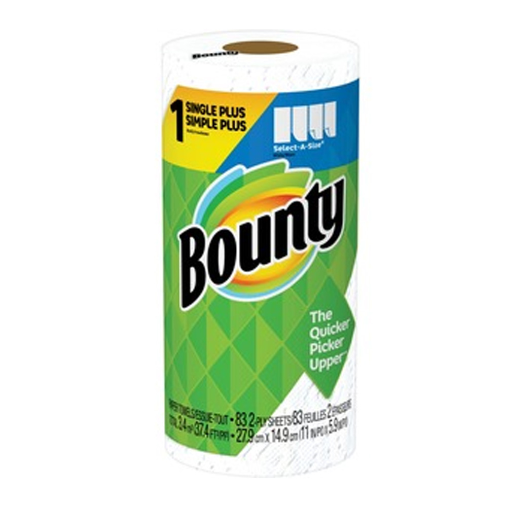 "Procter & Gamble - Bounty White 11""x5.9"" 2 ply 83 Sheets Select-A-Size Paper Kitchen Roll Towel"