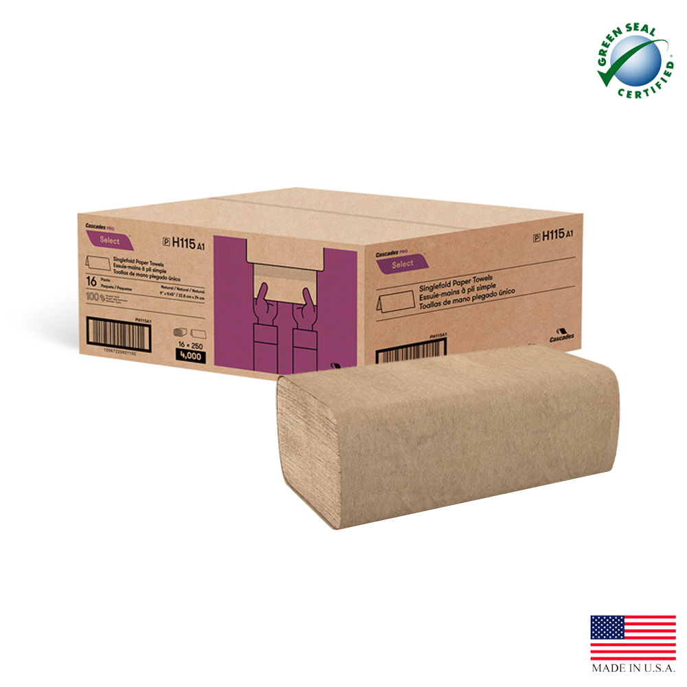 "Cascades Tissue - Pro Select Natural 9""x9.45"" 1   ply Single Fold Paper Towel H115   2400/cs"