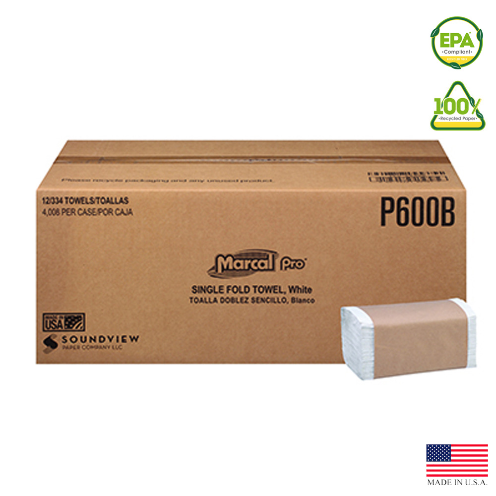 "Putney Paper White 1ply 8.62""x10.25"" 250 Count    Single Fold Towel P-600B"