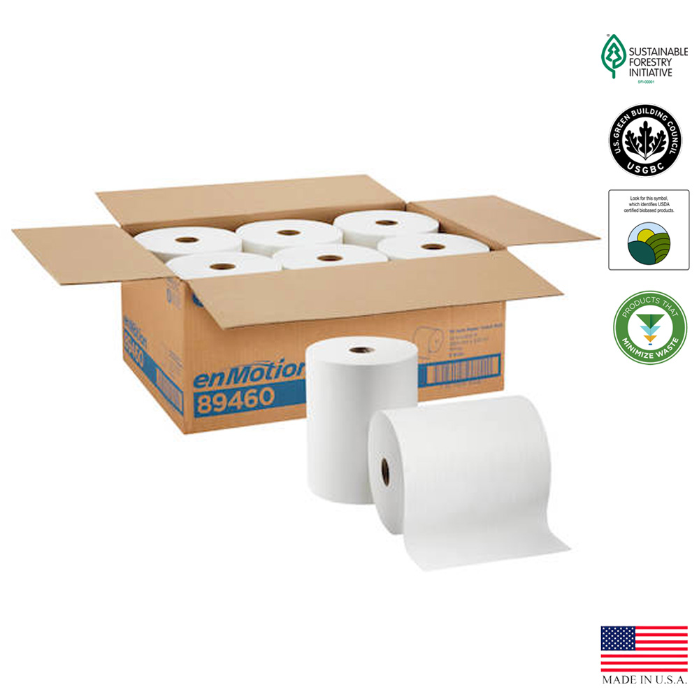 "Georgia Pacific Corp. - Enmotion White 10""x800' 1 ply High Capacity Paper Roll Towel 89460"