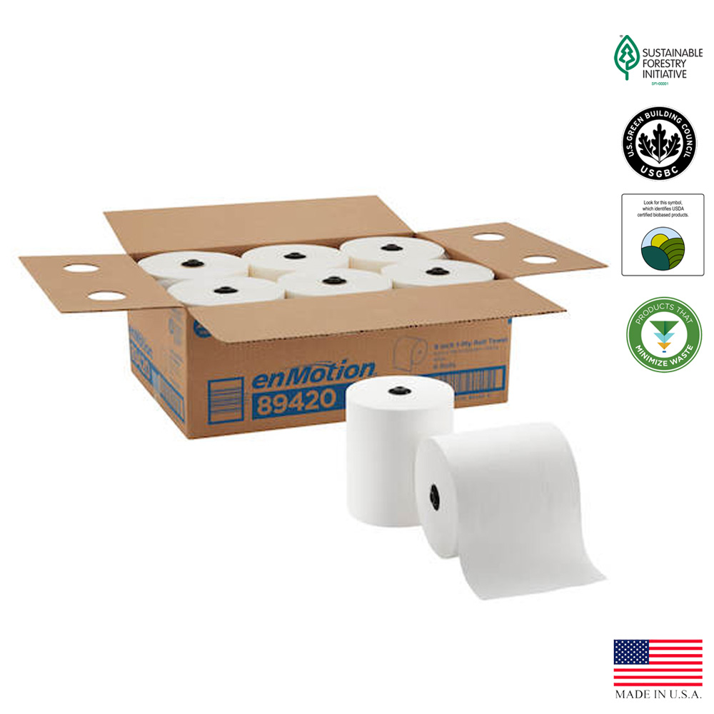 "Georgia Pacific Corp. - Enmotion White 8""x700' 1 ply High Capacity Touchless Paper Roll Towel 8"