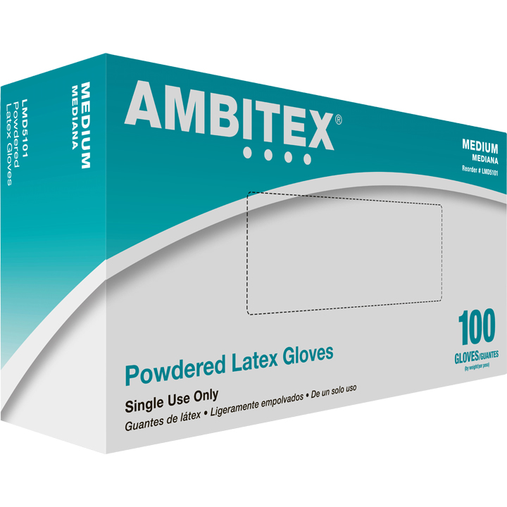 Tradex Intl. -Ambitex Medium Powdered Latex       Food Service Gloves LMD5101