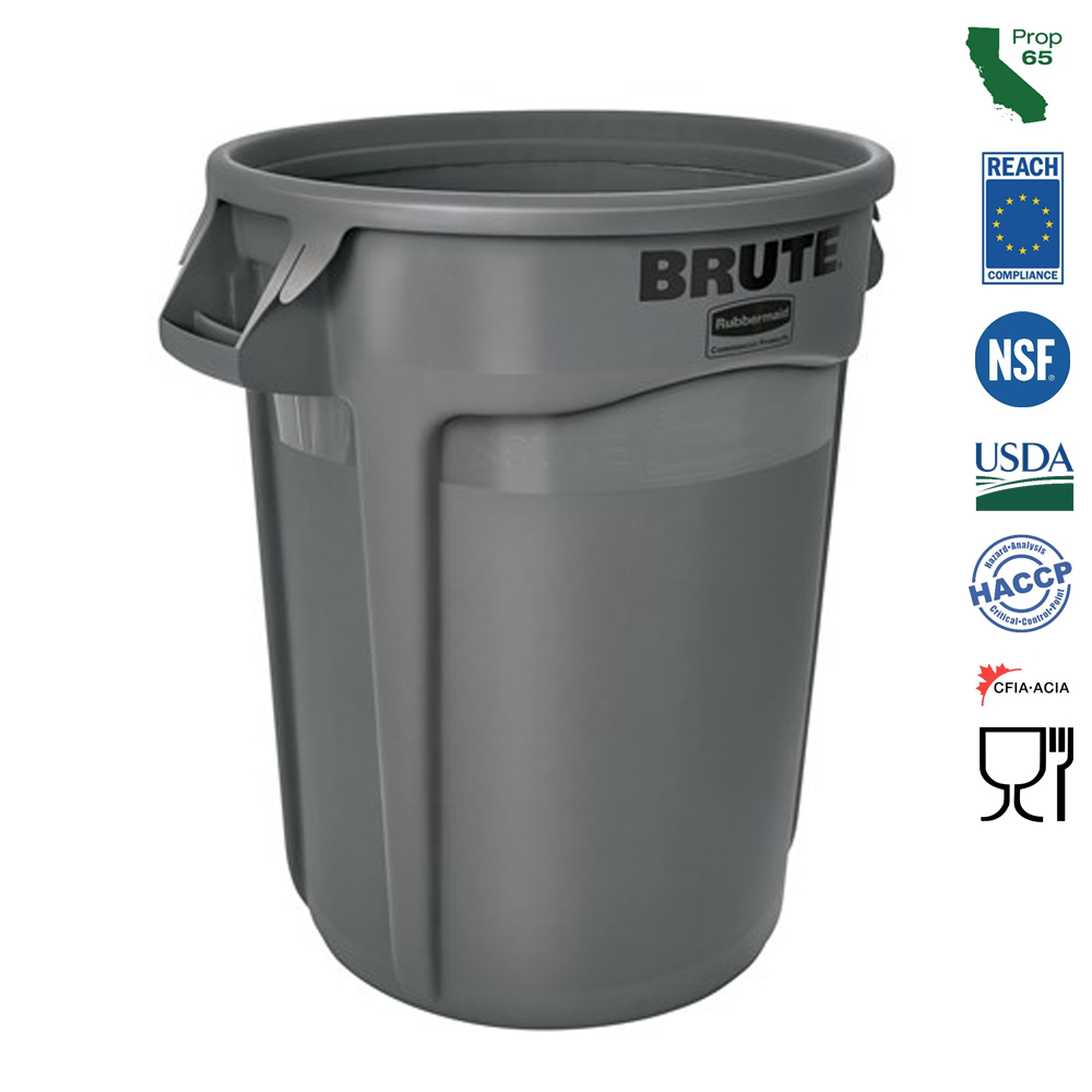 Rubbermaid Commercial - Brute Grey 44 Gallon Vent Waste Bin 264360GRAY