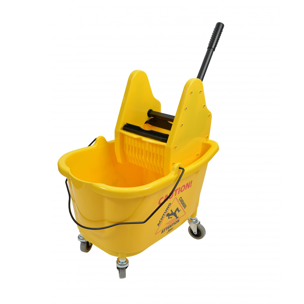 Janico Inc. - Yellow 26 Qt Mop Bucket With Down Press Wringer 1026YM