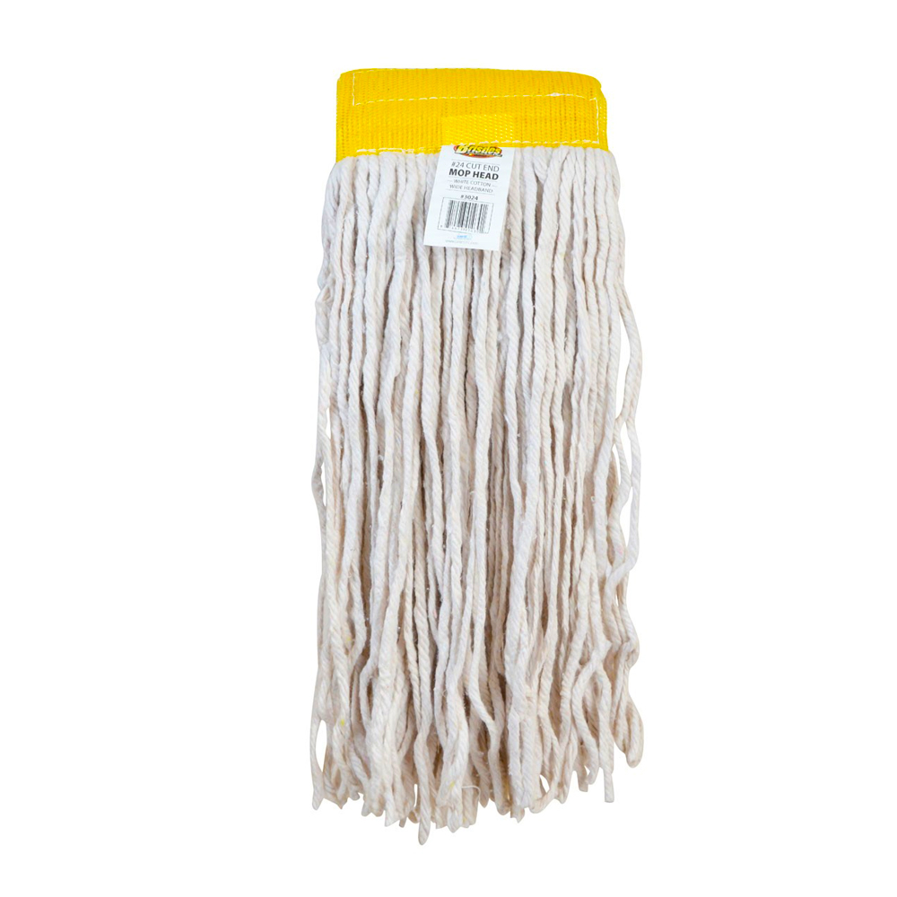 Janico Inc. - White Cotton Wide Band Cut End Mop Head #24 3024