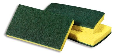 "3M Products - Scotch-Brite Green & Yellow 6.1""x3.6"" Medium Duty Scrub Sponge #74"