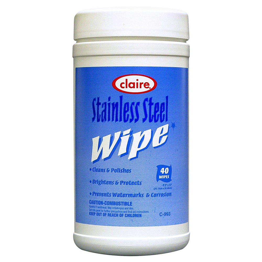 "Claire Manufacturing - 9.5""x12"" Stainless Steel 40 Sheet Wipes CL993"
