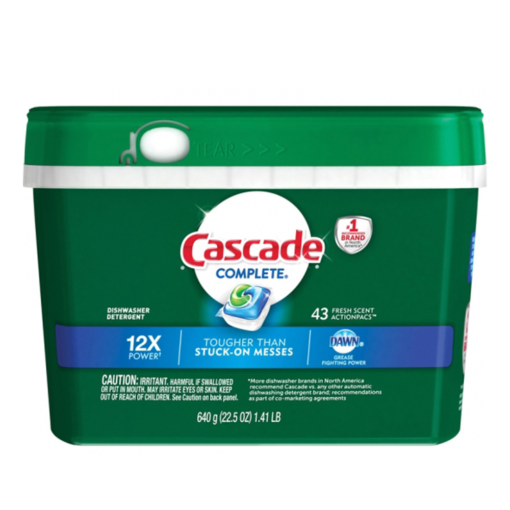 Procter & Gamble Cascade 43ct Complete Action Pacs For Automatic Dishwasher Fresh Scent 98208