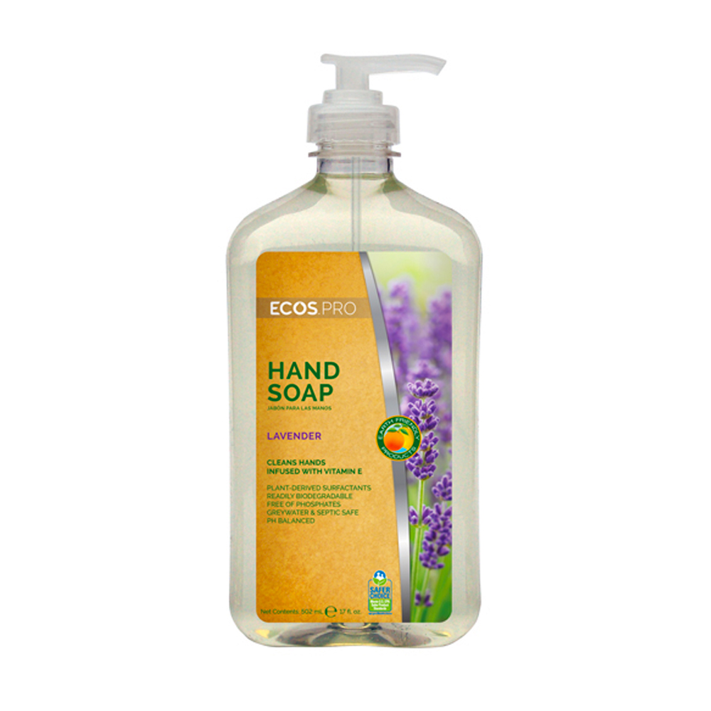 Earth Friendly Clear 17oz Ecos Pro Lavender Scented Hand Soap Pump PL9665/6