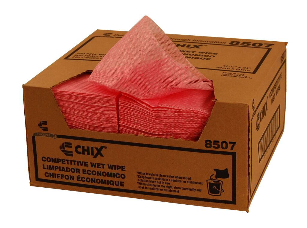 "Chicopee Pink 13.5""x24"" Chix Wet Wipes Towel 8507"