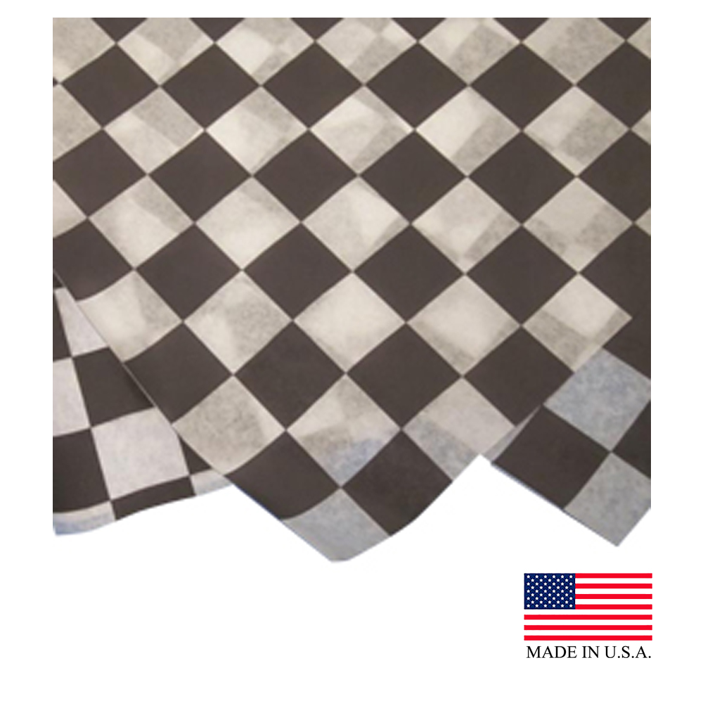 "Durable Inc. - Black & White Checkered 12""x12"" Square Dry Wax Sheet FP1212-BK-2M"