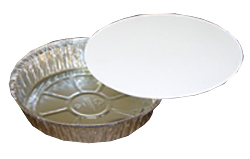 "Pactiv Aluminum 8"" Round Pan And Laminated Board Lid Y558TPZ"
