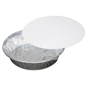 "Pactiv Aluminum 7"" Round Take Out Container With Board Lid Y527TP"