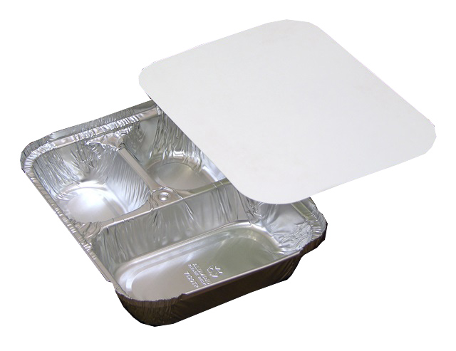 Pactiv Aluminum 3 Compartment Oblong Tray With Board Lid Y7139TP