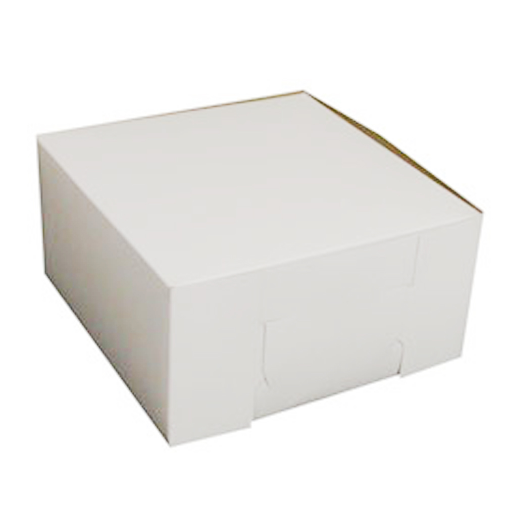 "Boxit Corp. - White 10""x10""x5"" Clay Square Bakery Box With Lock Corner 10105B-261"