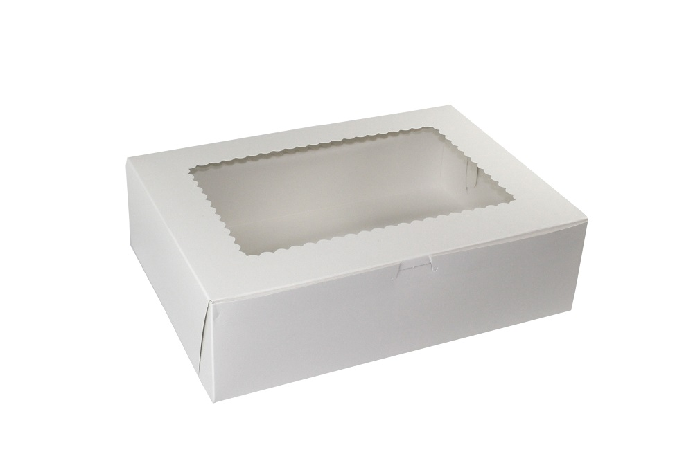 "Boxit Corp White 14""x10""x4"" 12 Cup Cupcake Window  Box With Lock Corner 14104W-126"