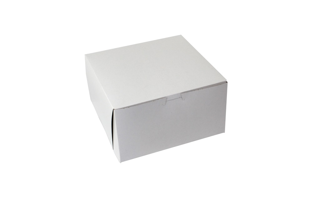 "Boxit Corp. - White 9'x9""x2.5"" 4 Pack 1 Piece Square Bakery Box With Corner Lock 992B/DP4-261"