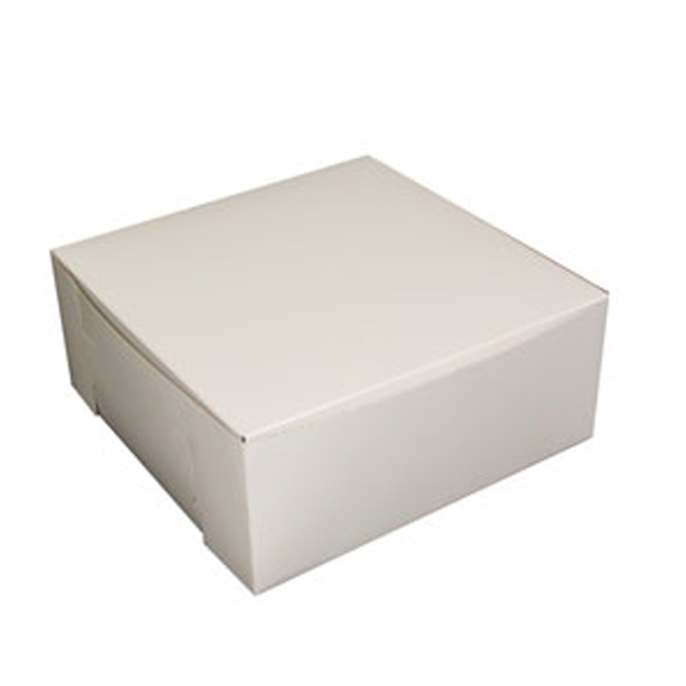 "Boxit Corp. - White 12""x12""x5"" 1 Piece Square Bakery Box With Corner Lock 12125B-261"