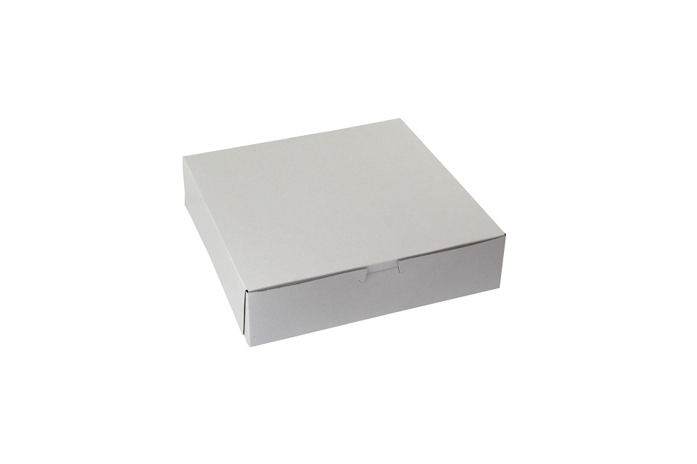 "Boxit Corp. - White 10""x10""x2"" 4 Pack 1 Piece Square Bakery Box With Corner Lock 10102B/DP4-261"
