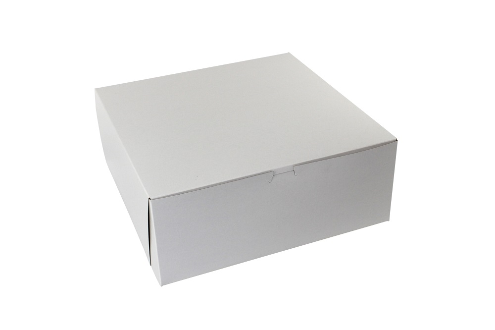 "Boxit Corp. - White 14""x14""x5.5"" 1 Piece Square Bakery Box With Corner Lock 14145B-261"