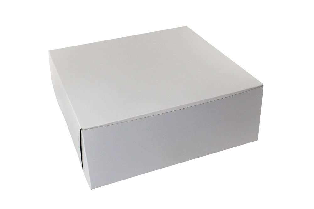"Boxit Corp. - White 16""x16""x6"" 1 Piece Square Bakery Box With Corner Lock 16166B-26161"