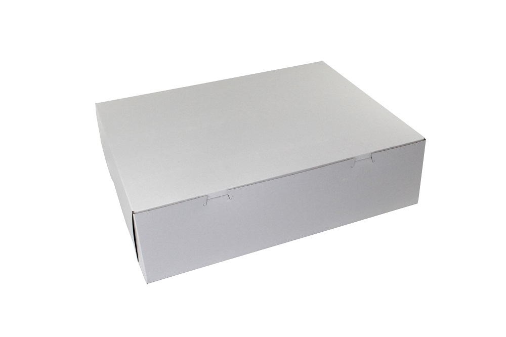 "Boxit Corp. - White 18""x14""x5"" 1 Piece Rectangular Bakery Box With Corner Lock 18455B-261"
