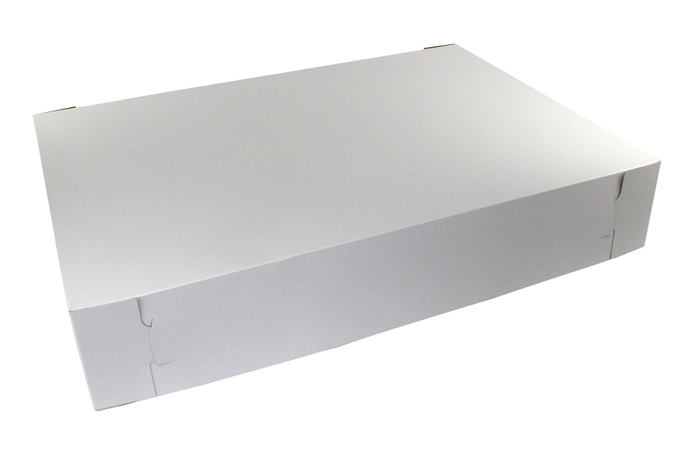 "Boxit Corp. - White 28""x20""x4"" 2 Piece Rectangular Bakery Box With Kraft Interior 28205B-261"
