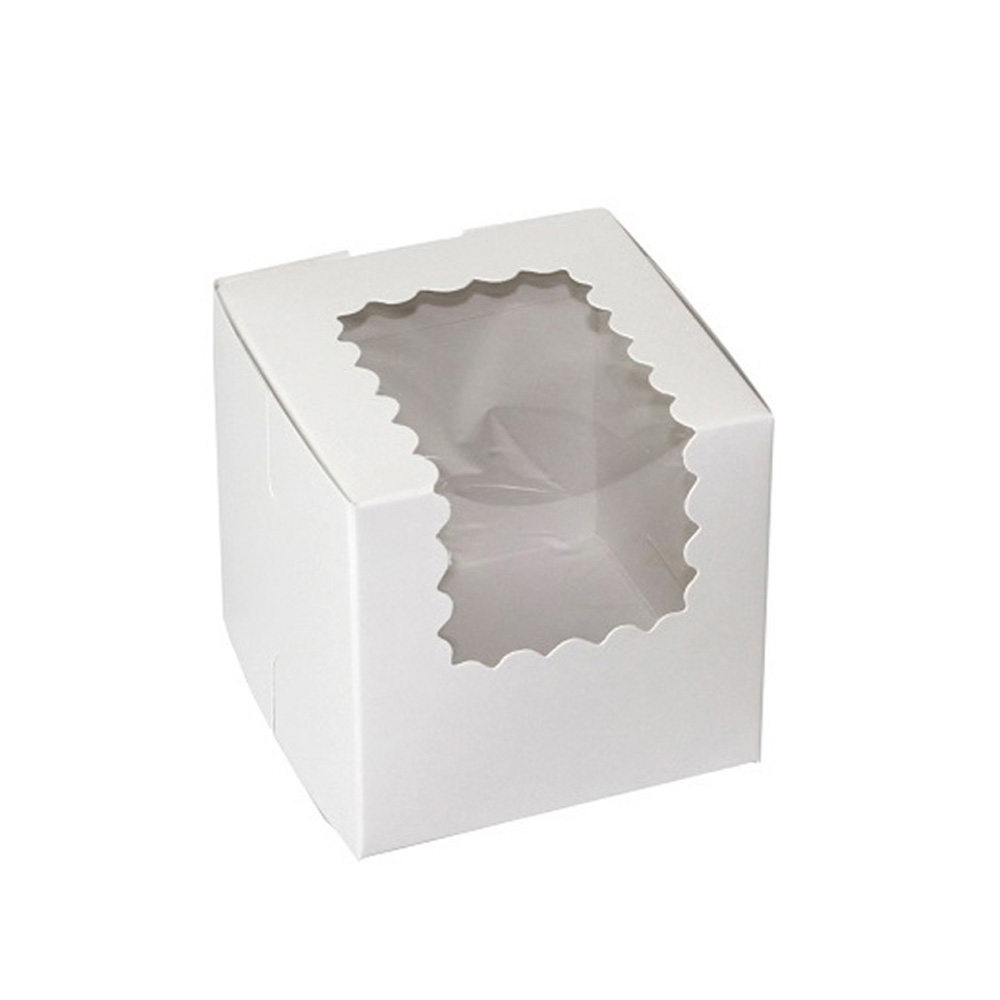 "Boxit Corp White 4""x4""x4"" 1 Piece Cupcake Window  Box With Corner Lock 444W-126"