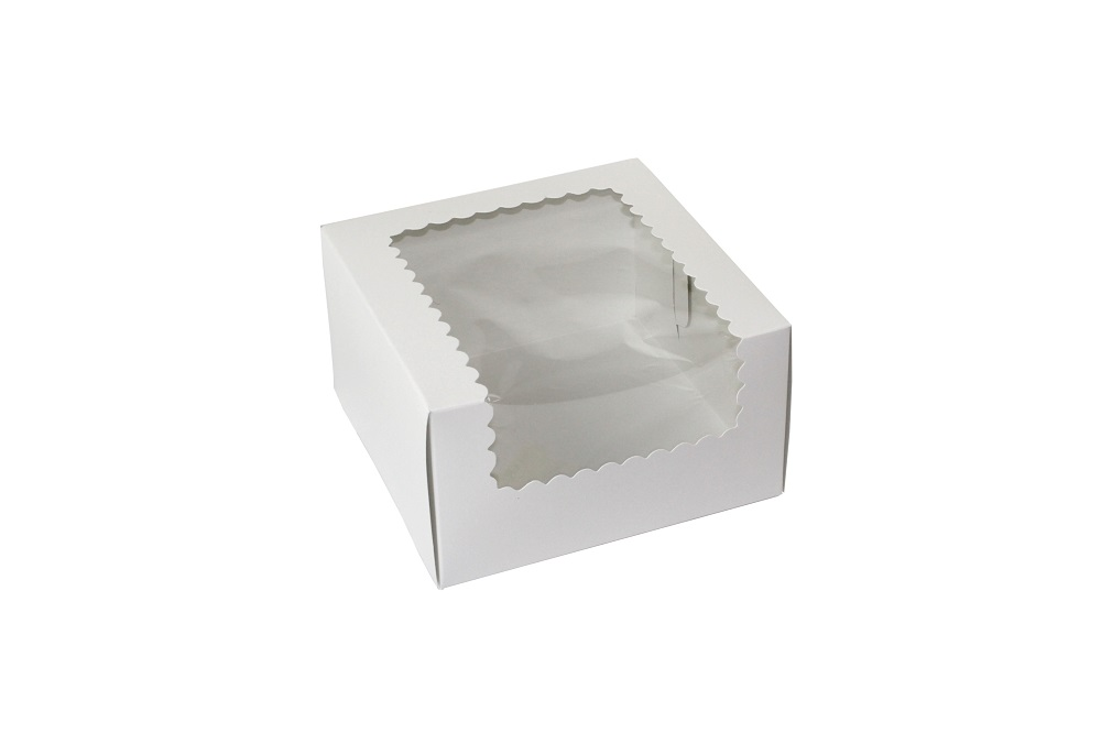 "Boxit Corp White 7""x7""x4"" 1 Piece Cupcake Window  Box With Corner Lock 774W-126"