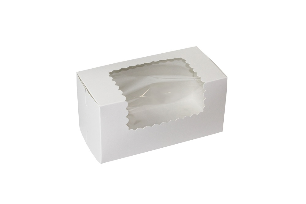 "Boxit Corp White 8""x4""x4"" 1 Piece 2 Cup Cupcake W indow Box With Corner Lock 844W-126"
