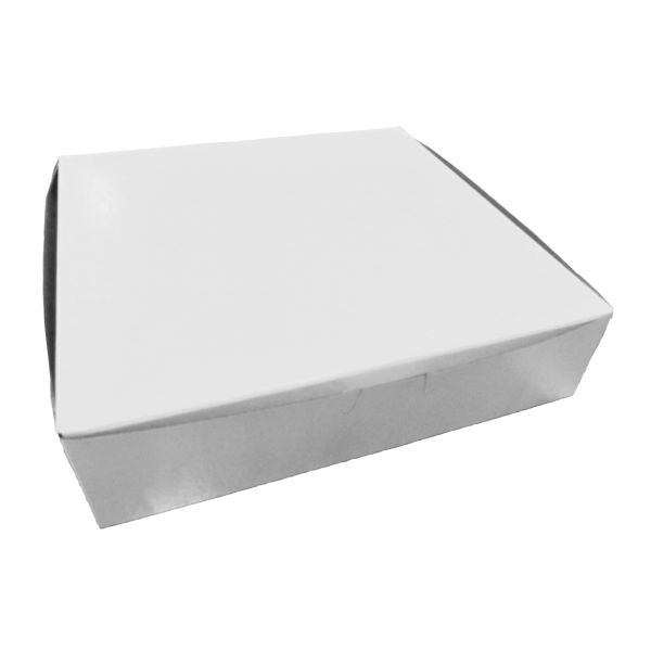 "Boxit Corp. - White 10""x10""x2.5"" 1 Piece Square Bakery Box With Corner Lock 10102B-261"