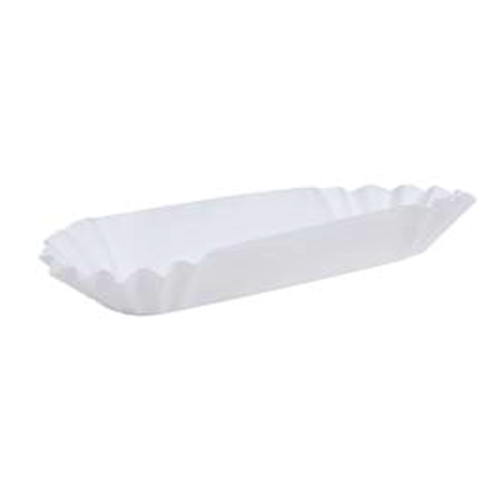 "Hoffmaster - White 12"" Paper Fluted Hot Dog Tray 300431"