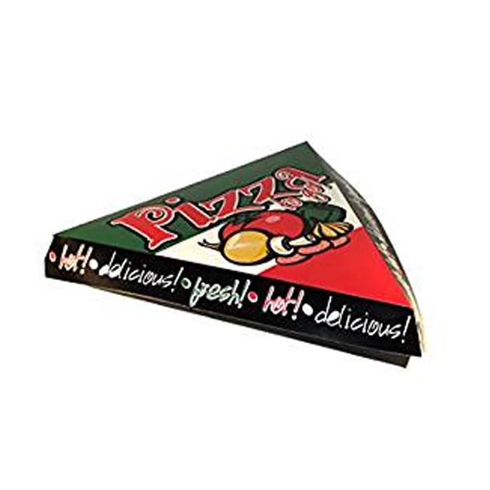 "Specialty Quality Packaging - Green/White/Red Vegetable Print 9"" Hinged Triangle Pizza Box"