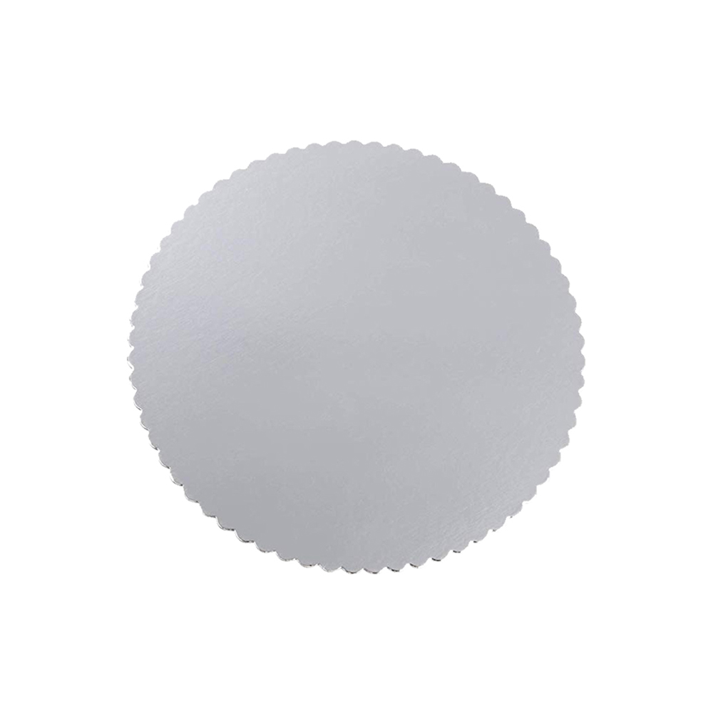 "Laminators Ind. - Silver 10"" Scalloped Laminated Round Cake Circle RSS-10"""